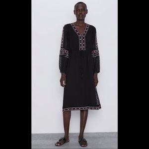 Zara Swiss Dot Dress With Embroidery